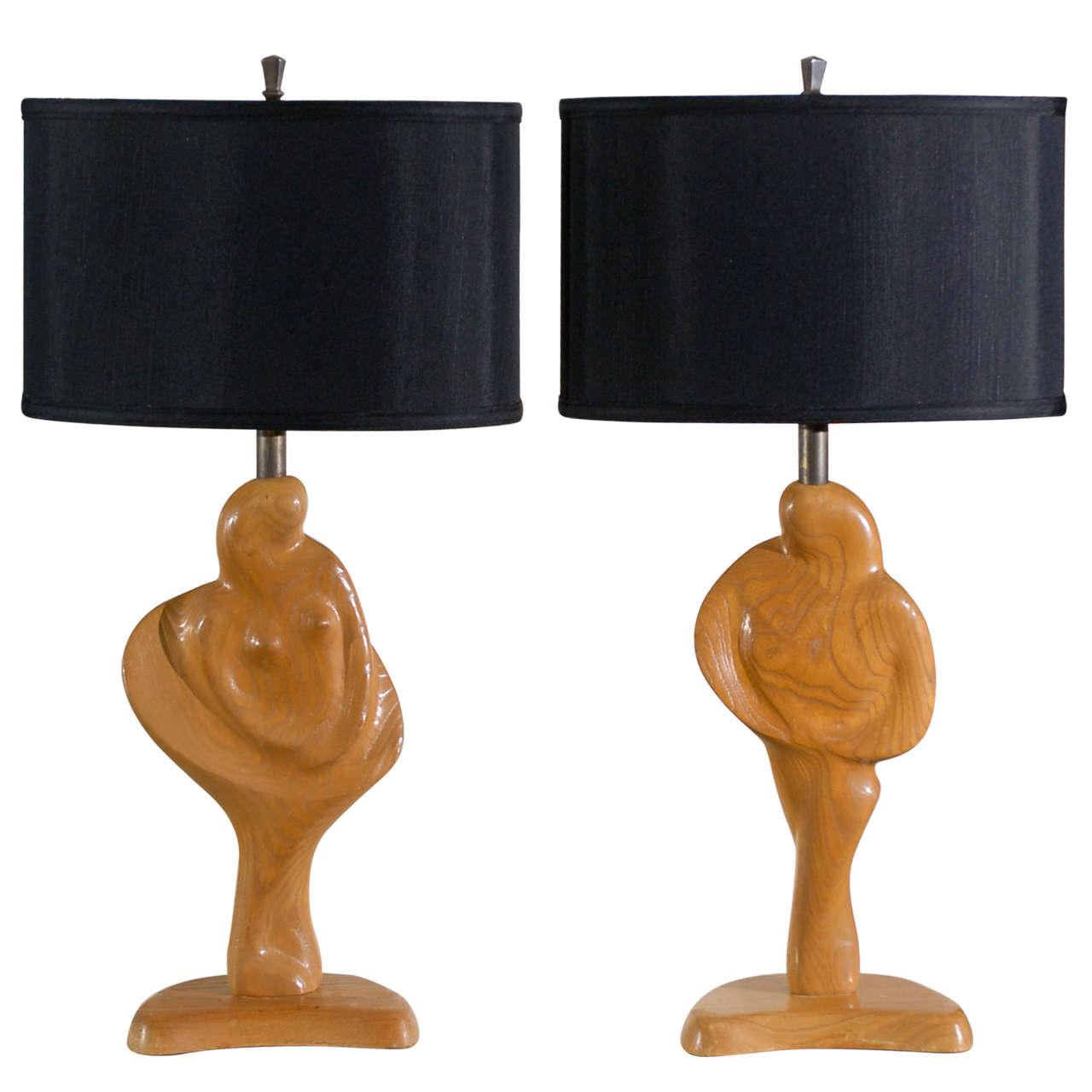 Fantastic Sculptural Pair of Heifetz Lamps