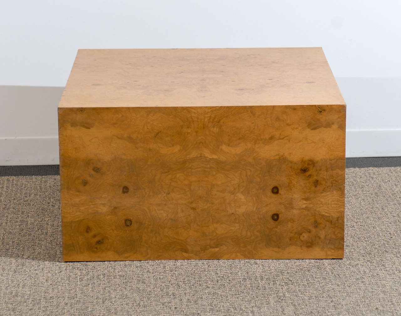 Milo Baughman Cube Coffee Table In Olive Wood At 1stdibs