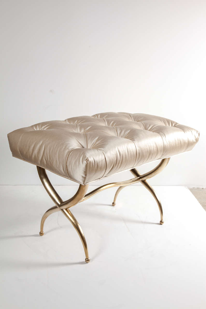 Decorative brass bench with deep diamond tufted silk upholstery, Italy, circa 1950.