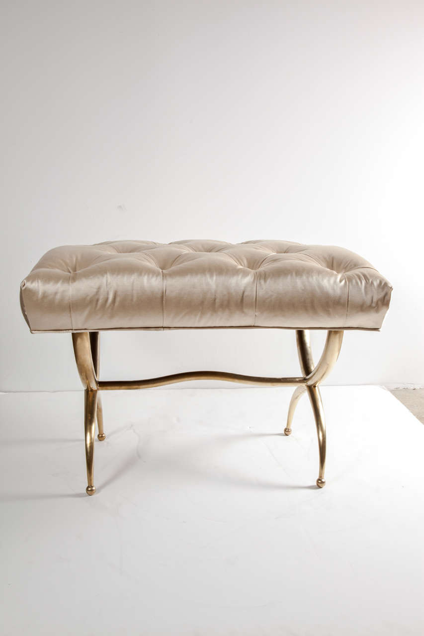 Mid-Century Modern Bench, Brass, Italy, C 1950, Silk Upholstery For Sale