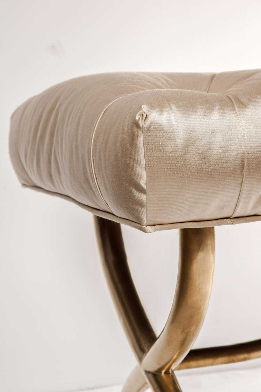 Bench, Brass, Italy, C 1950, Silk Upholstery In Excellent Condition For Sale In New York, NY
