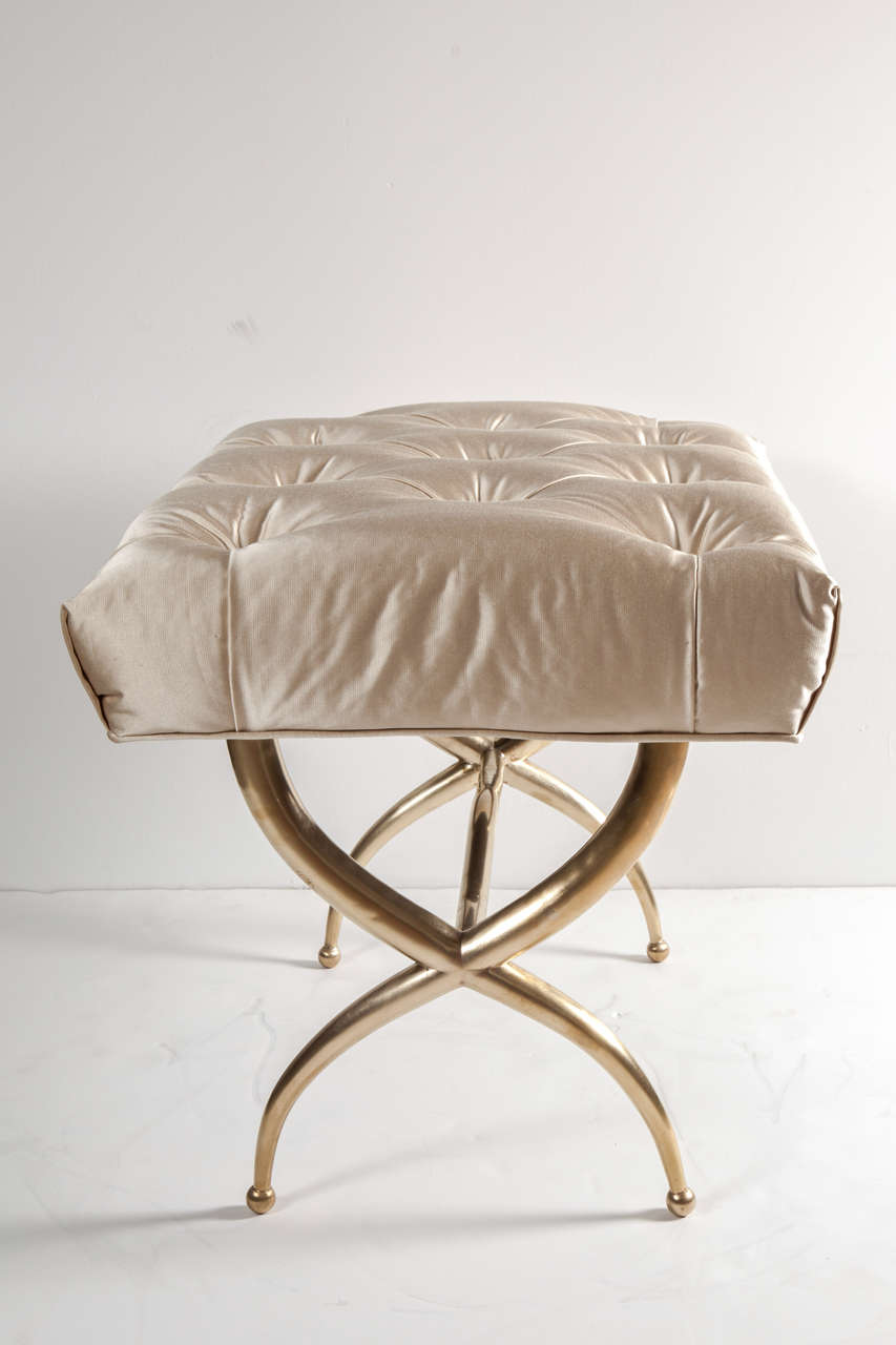 Mid-20th Century Bench, Brass, Italy, C 1950, Silk Upholstery For Sale