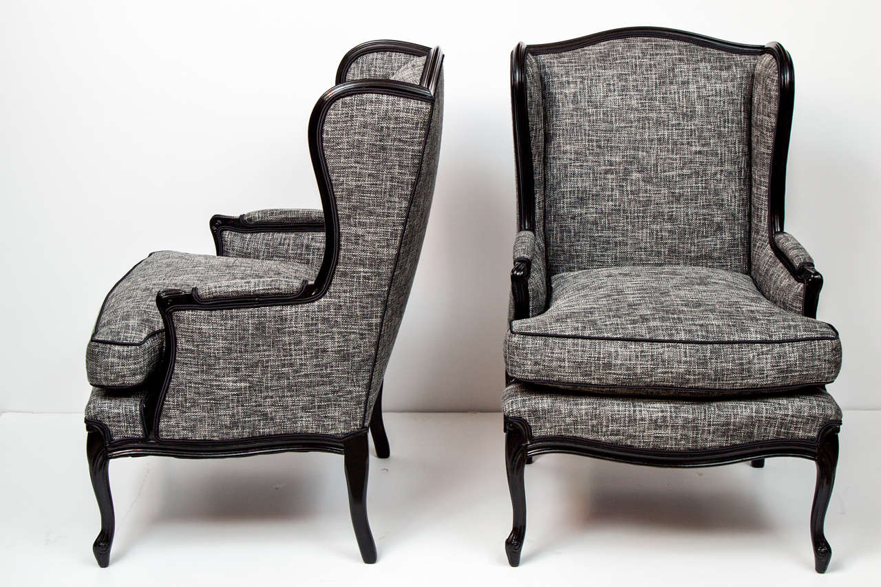Pair of tall wingback chairs at 1stdibs for Comfortable wingback chair