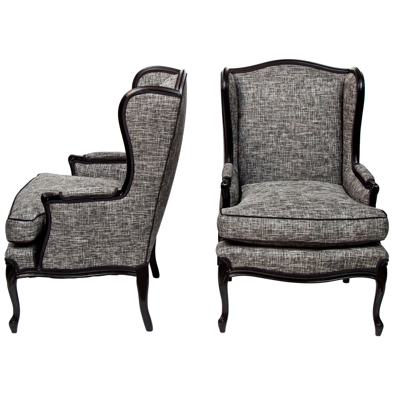 Pair of tall wingback chairs at 1stdibs for Wingback chair