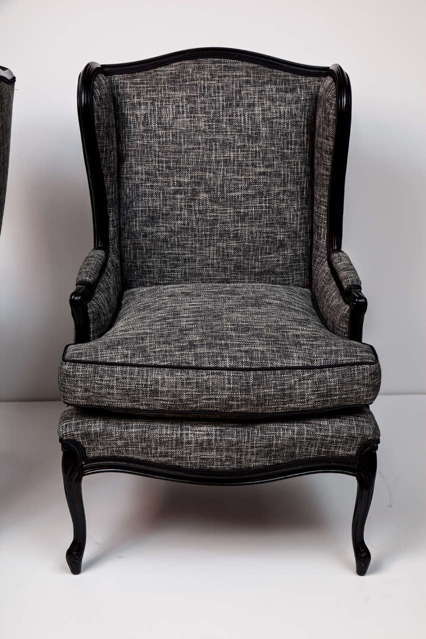 Gentil Mid Century Modern Pair Of Tall Wingback Chairs For Sale