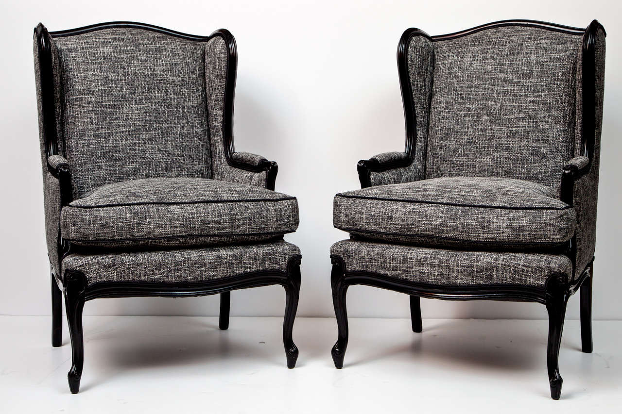 Pair of Tall Wingback Chairs at 1stdibs