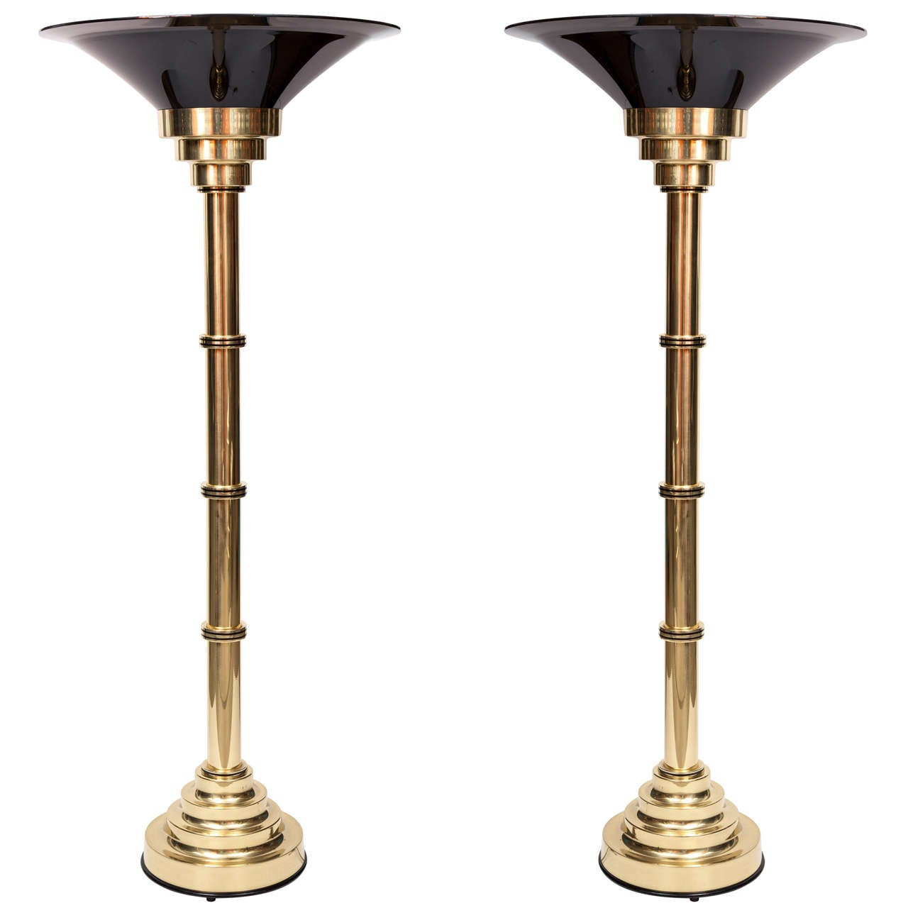 Pair of Tall Brass Floor Lamps, C 1970, Italy 1