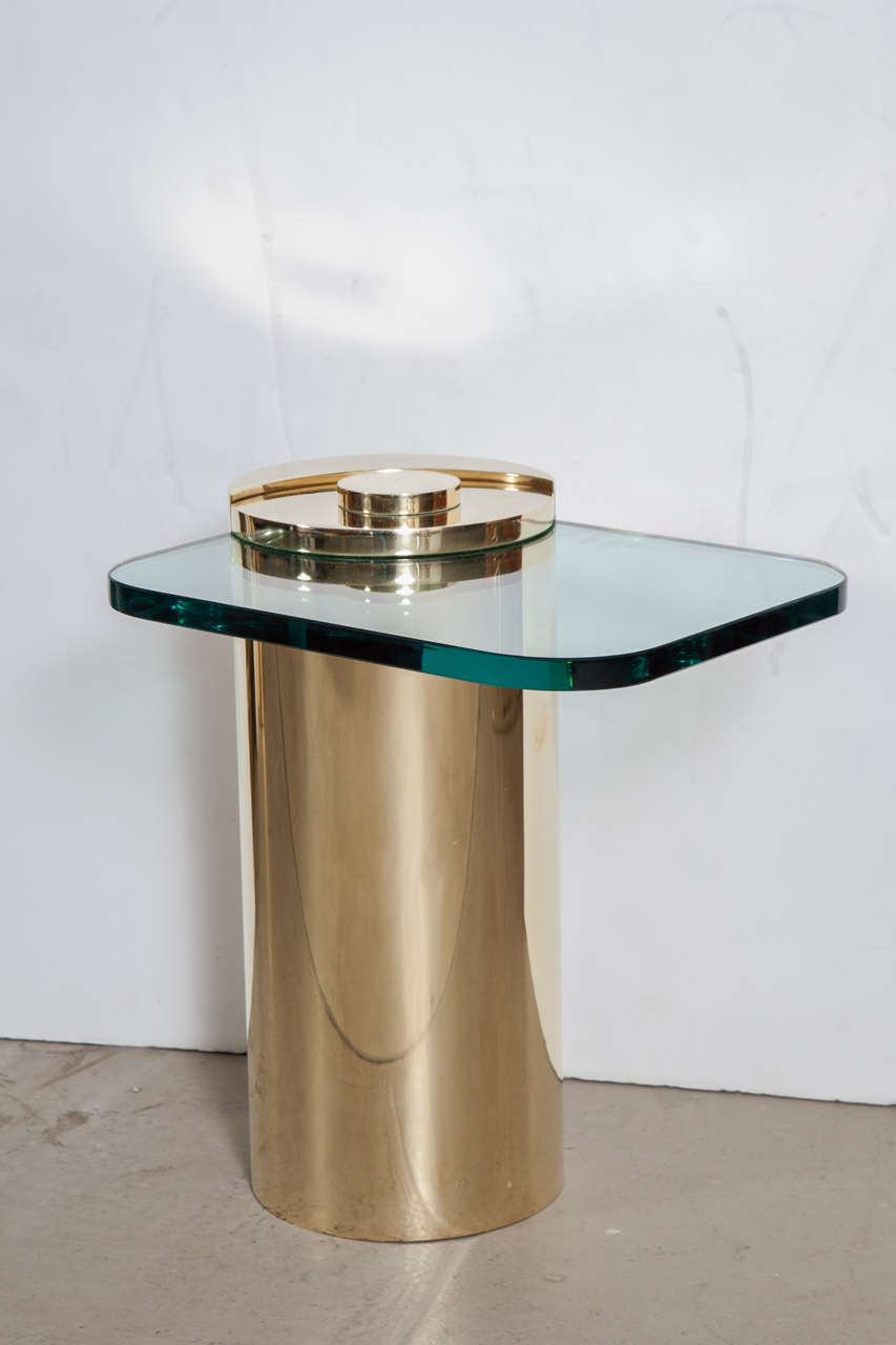 Pair of karl springer brass drum side tables at 1stdibs for Drum side table