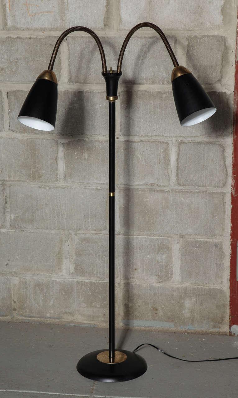 Mid century double gooseneck floor lamp at 1stdibs audiocablefo