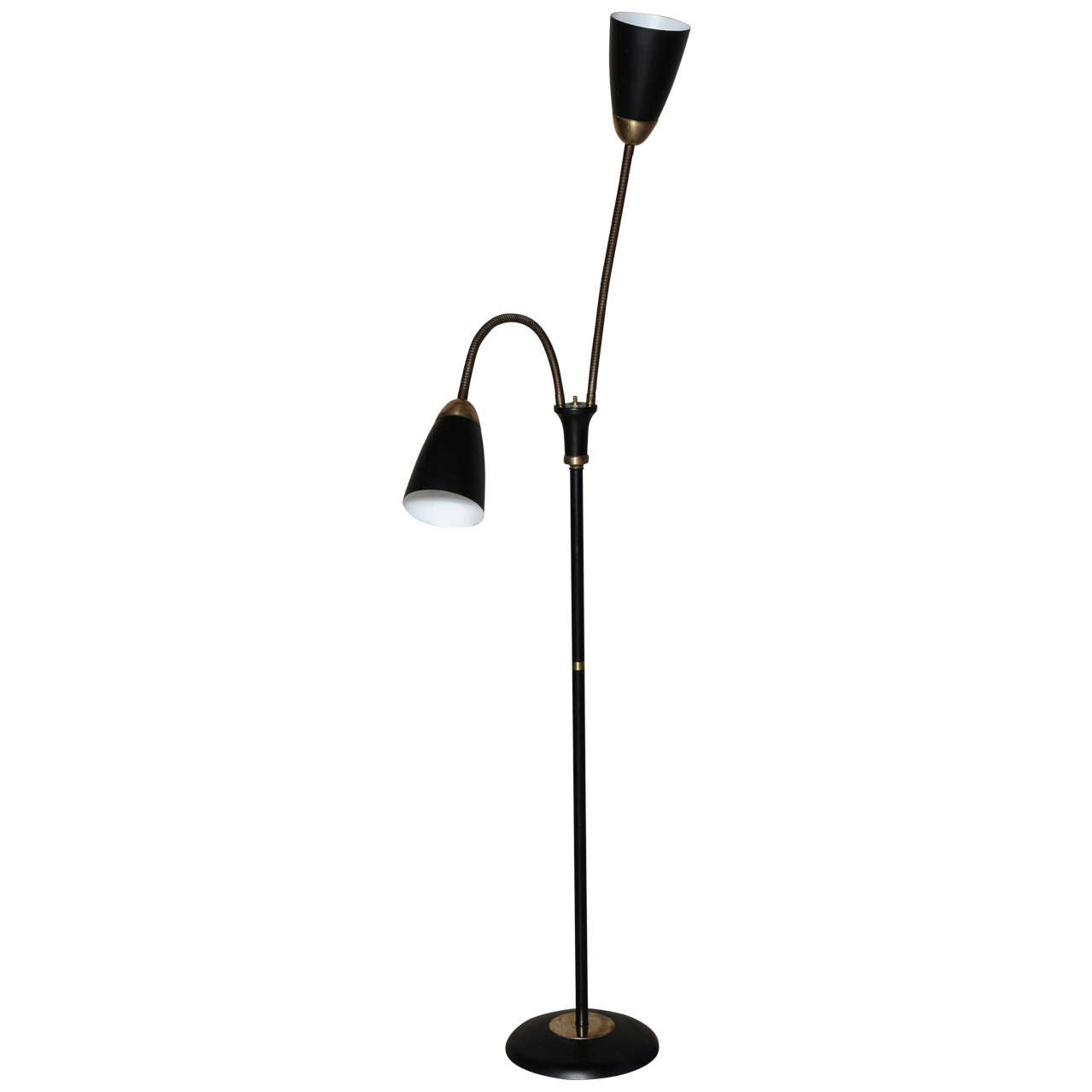 Mid century double gooseneck floor lamp at 1stdibs for Double floor lamp reading