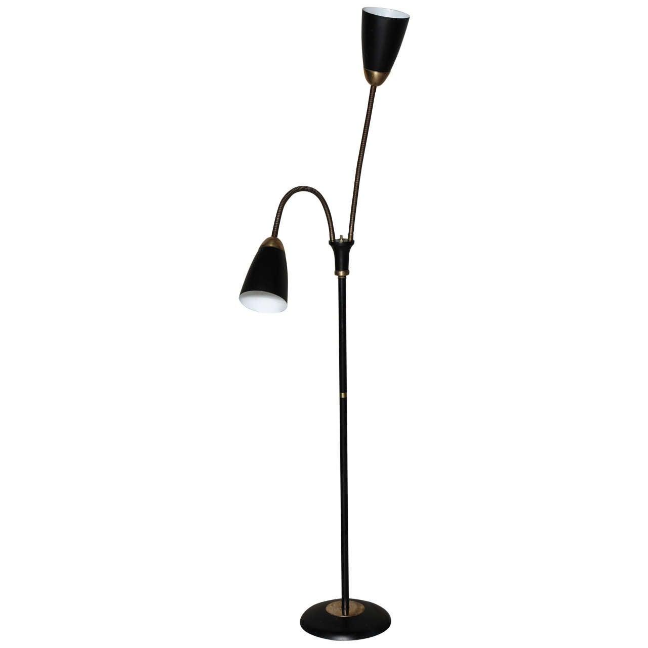 Mid century double gooseneck floor lamp at 1stdibs for 6 head gooseneck floor lamp