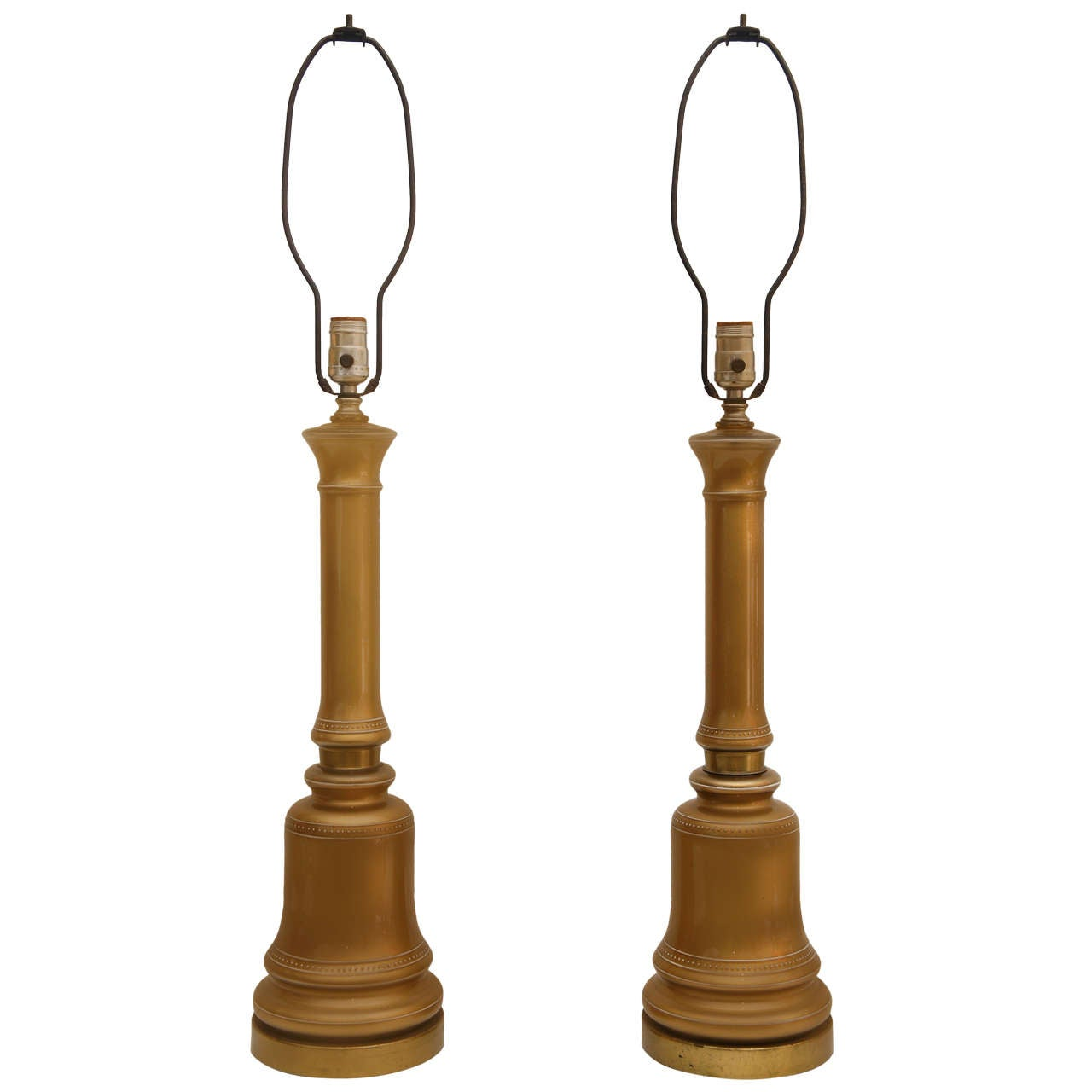 Pair of Gold Opaline Lamps For Sale