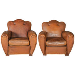 Pair of Art Deco, Weathered Leather Club Chairs