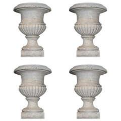 "Set of Four 19th Century White Statuario Marble Campana ""De Medici"" Garden Vases"