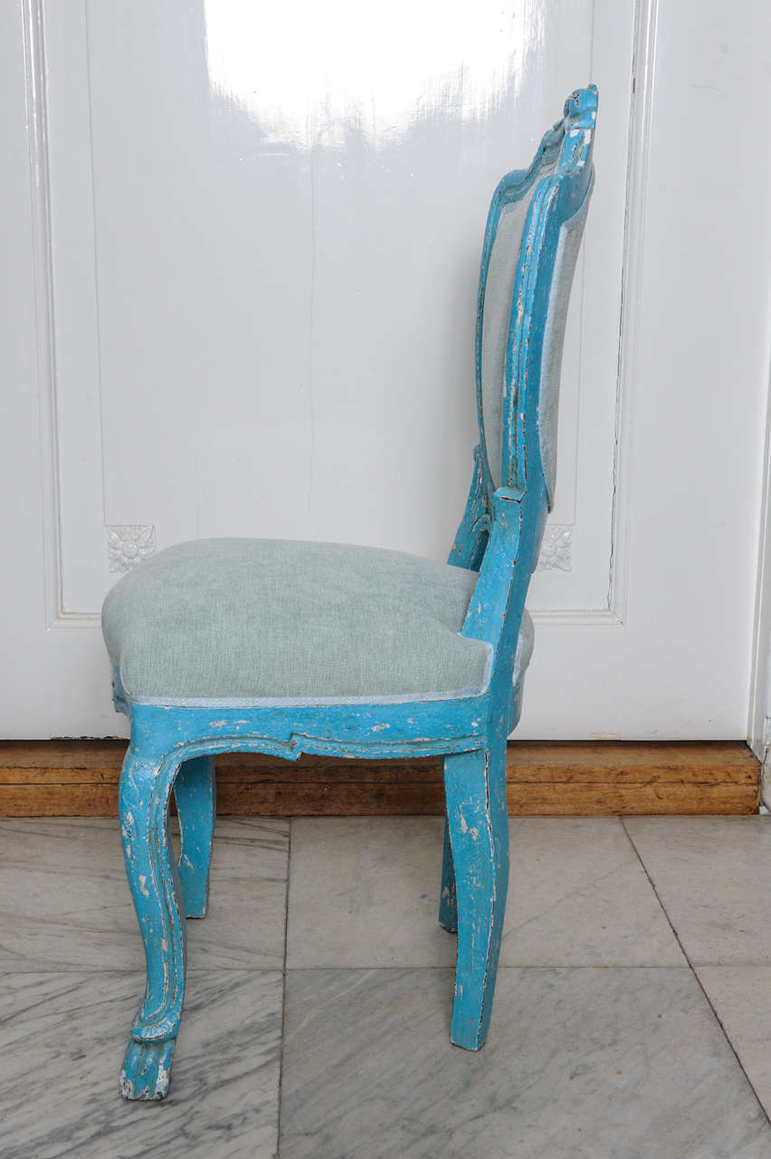 Set of 6 Antique Dining Chairs with Azure Blue Patina For ...