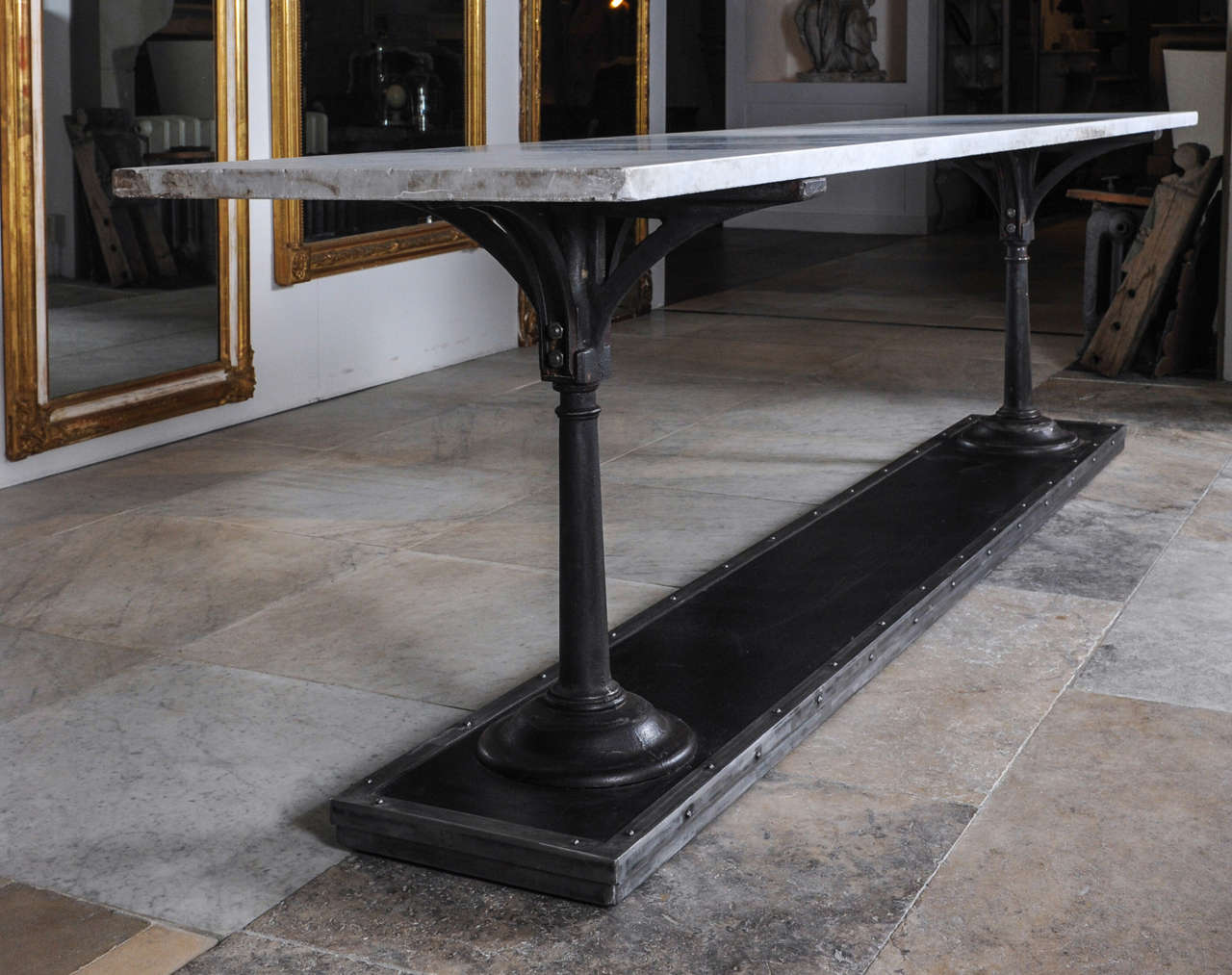 A Long, Slim Cast And Wrought Iron Butchers Table With Carrara Marble Top  For Sale