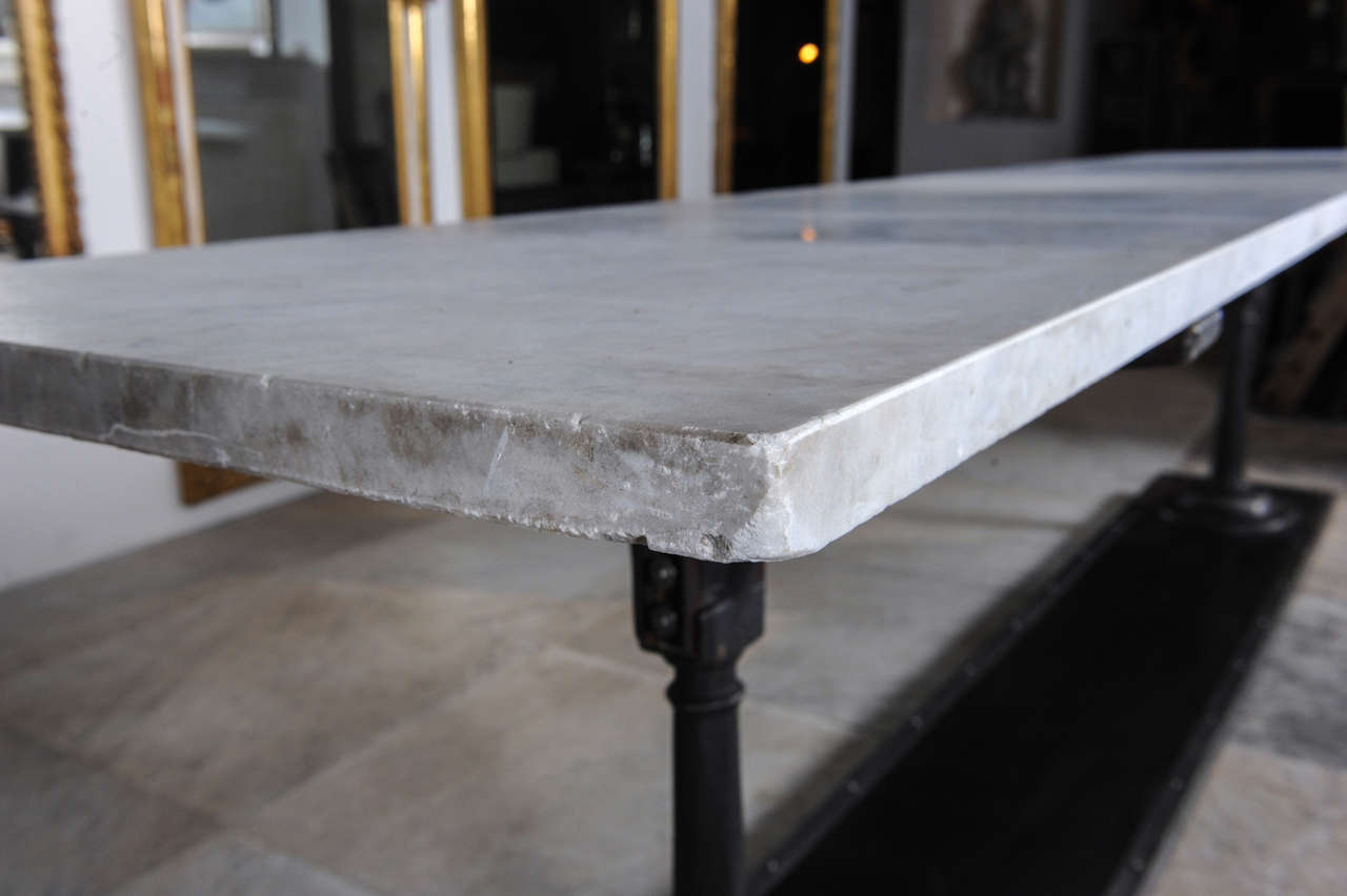 Attrayant A Long, Slim Cast And Wrought Iron Butchers Table With Carrara Marble Top  For Sale