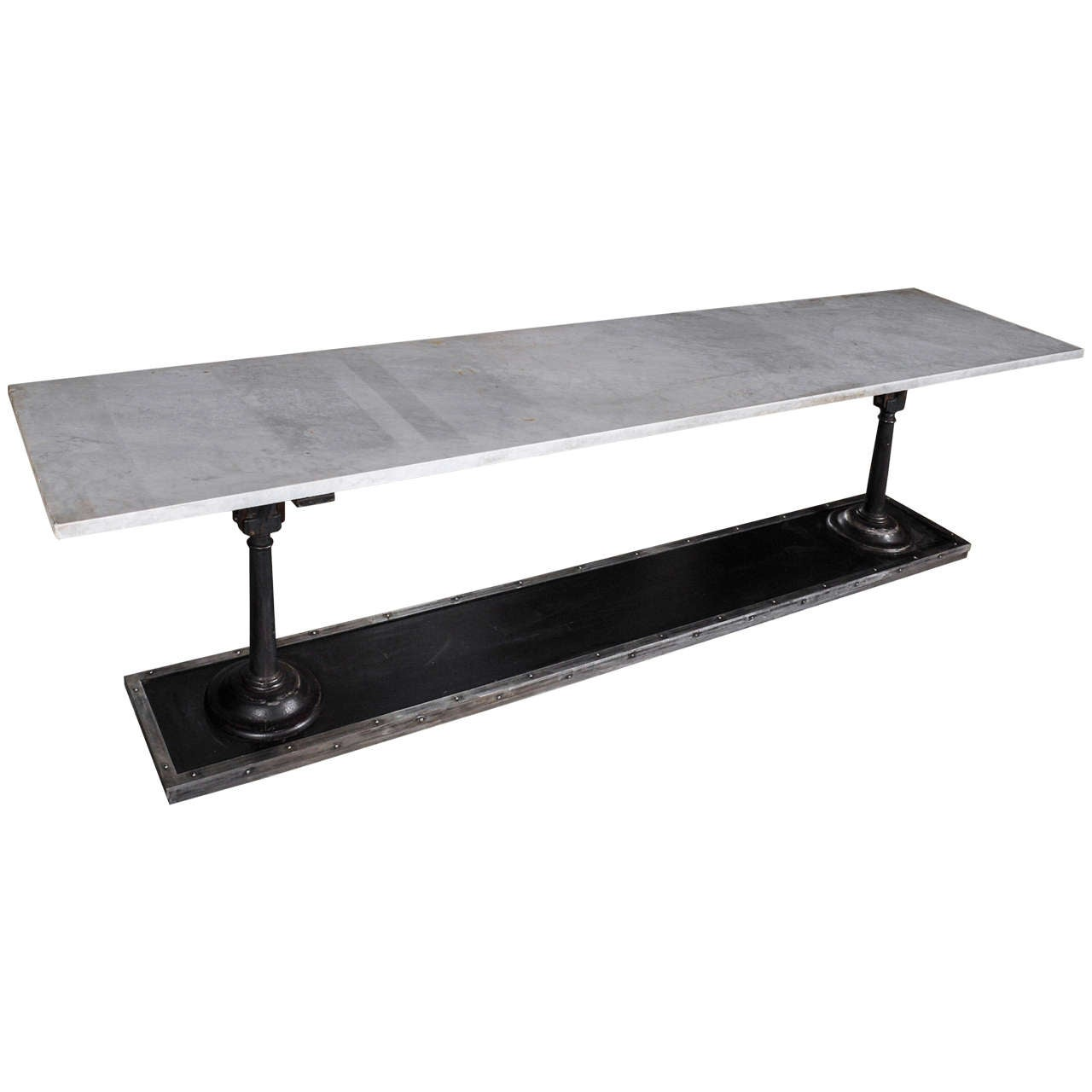 Great A Long, Slim Cast And Wrought Iron Butchers Table With Carrara Marble Top 1