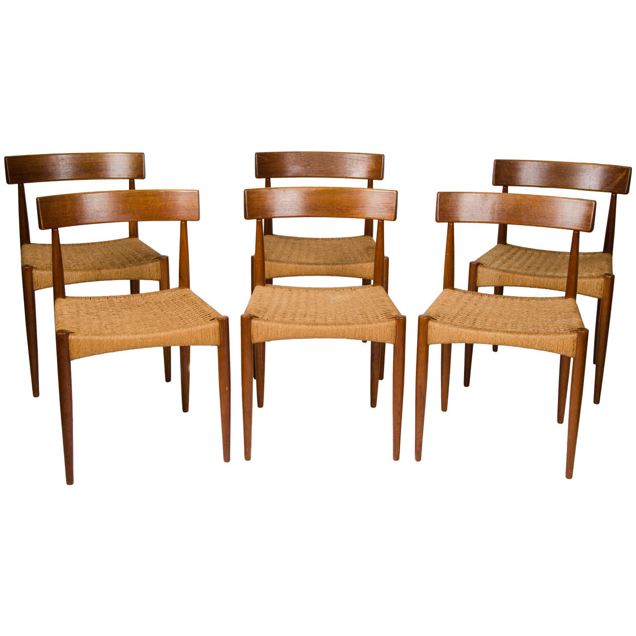 Set of six danish dining chairs at 1stdibs for Dining room chairs set of 6