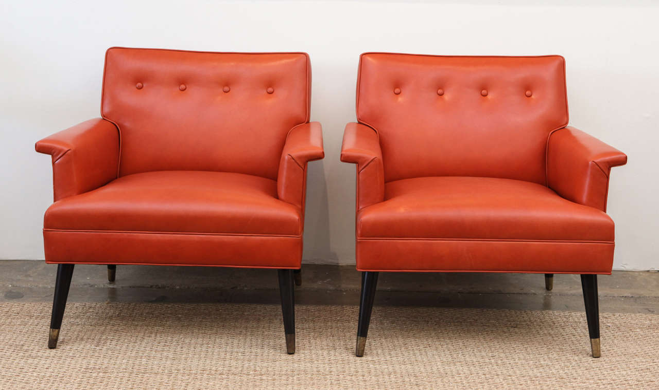 Pair Of Orange Leather Mid Century Armchairs At 1stdibs