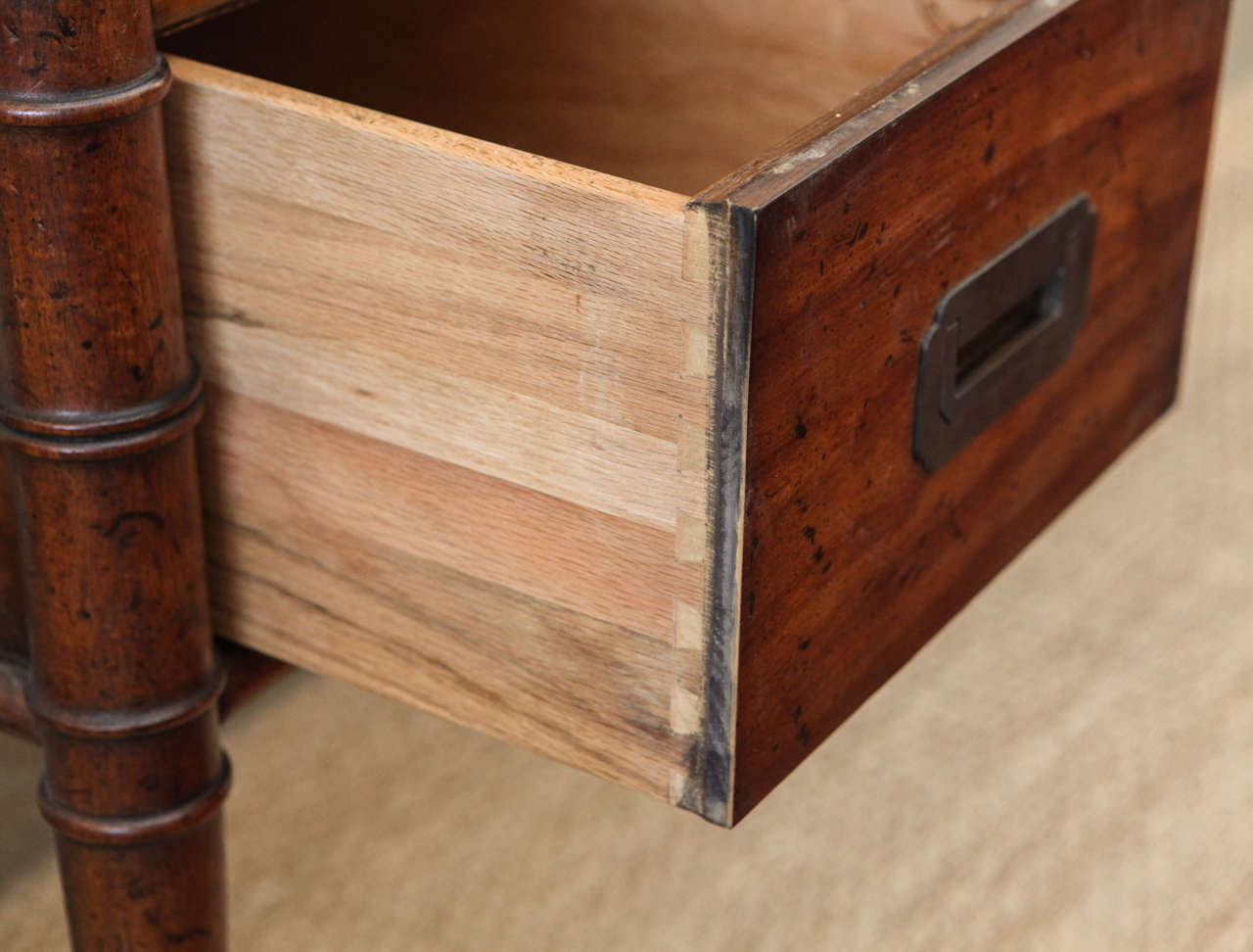 Drexel Campaign Bamboo And Leather Desk At 1stdibs