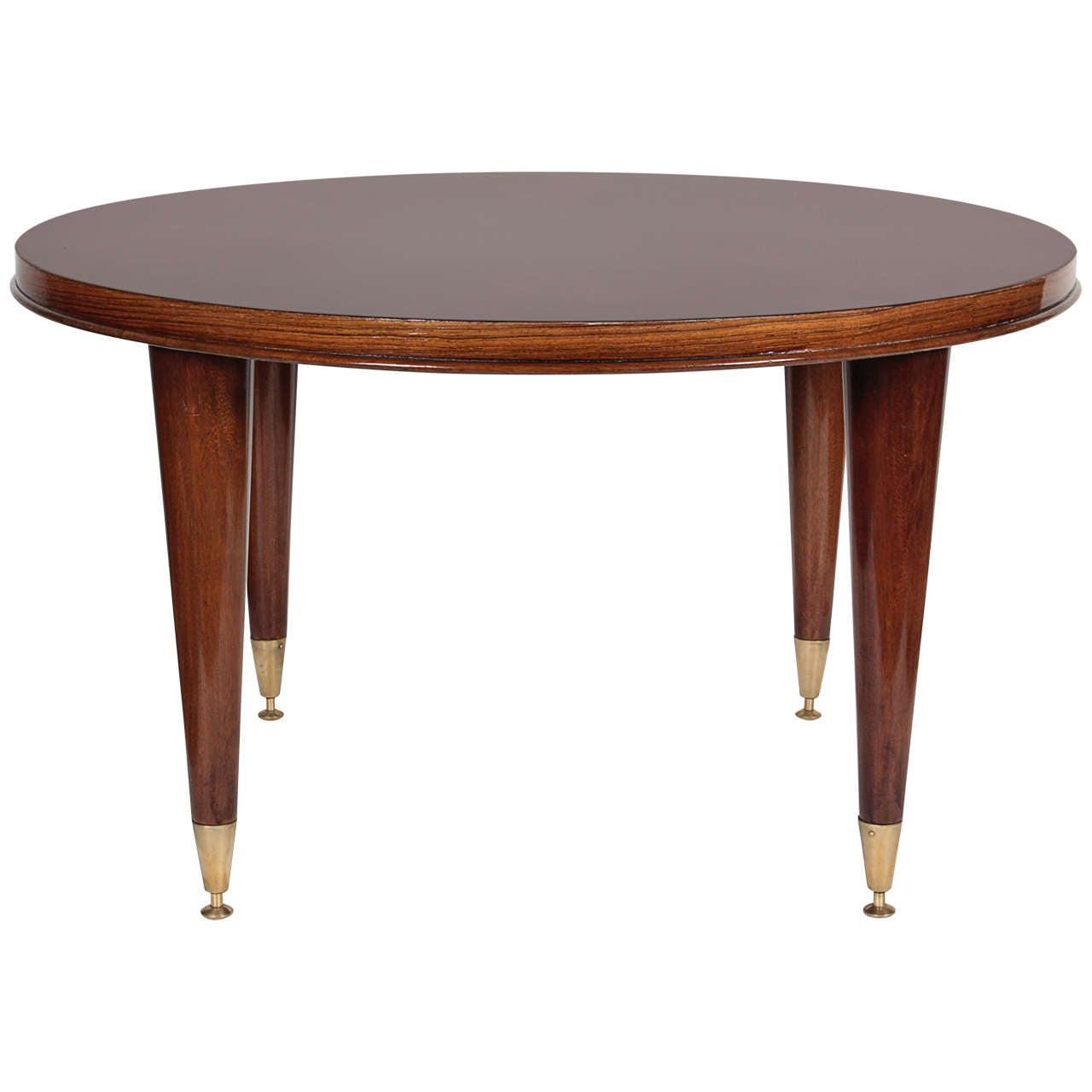 Fine Inlaid Palisander Coffee Table With Bronze Sabots Leleu At 1stdibs