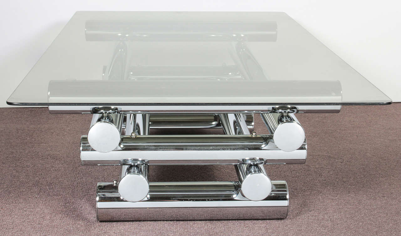 Mid Century Modern Tubular Tiered Metal Coffee Table With Glass Top At 1stdibs