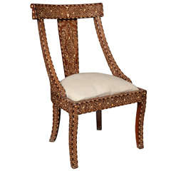 Bone Inlaid Armless Chair