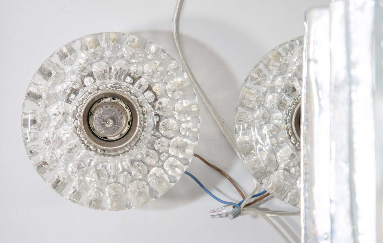 Pair of Round Glass Barovier & Toso Sconces 2