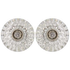 Pair of Round Glass Barovier & Toso Sconces