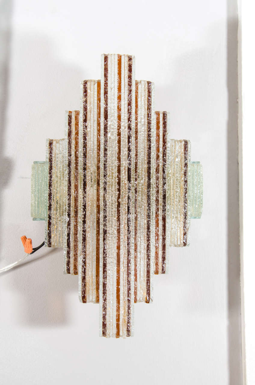 Pair of Amber and Clear Sconces in the Style of Poliarte 2