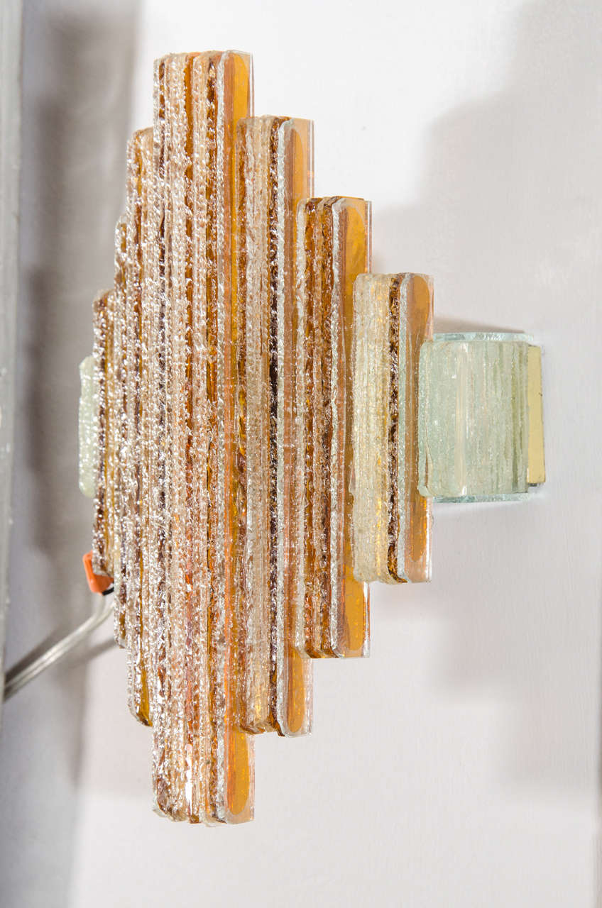 Pair of Amber and Clear Sconces in the Style of Poliarte 5