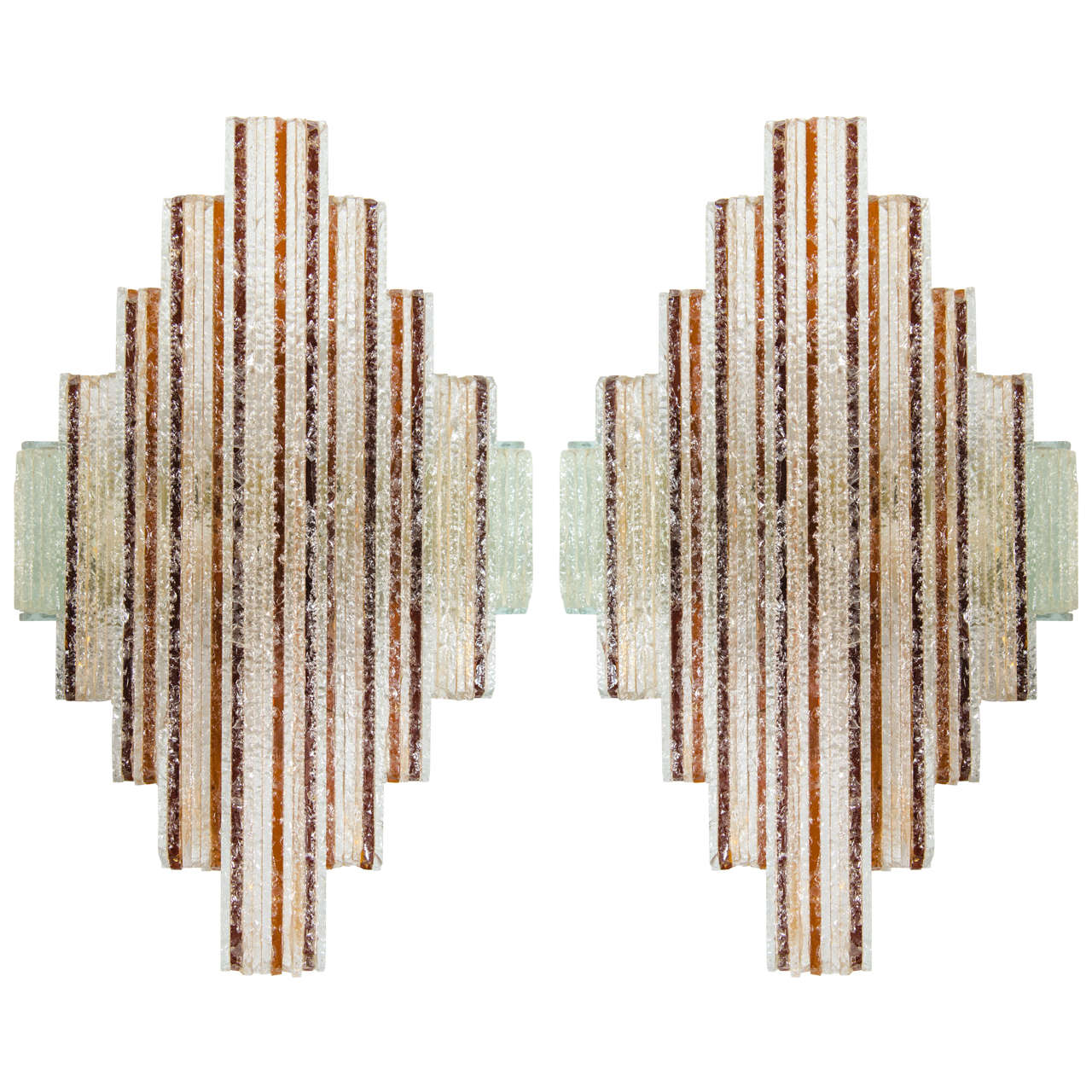 Pair of Amber and Clear Sconces in the Style of Poliarte 1