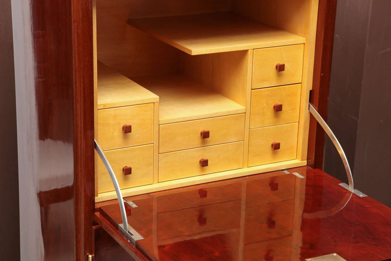art deco cherry and bronze secretaire cabinet with drawers france circa 1930 at 1stdibs. Black Bedroom Furniture Sets. Home Design Ideas