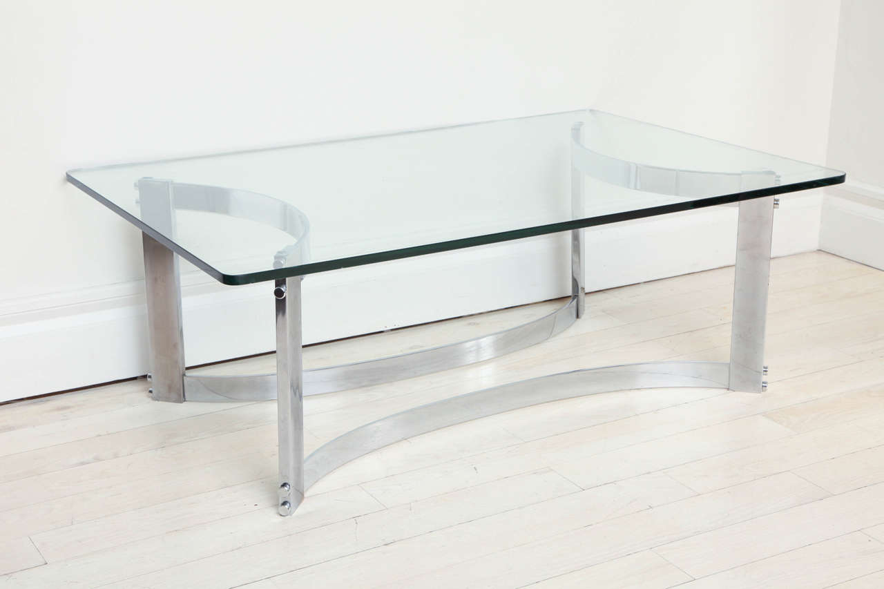 Mid Century Modern Rectangular Coffee Table With Glass Top And Curved  Chrome Base For Sale