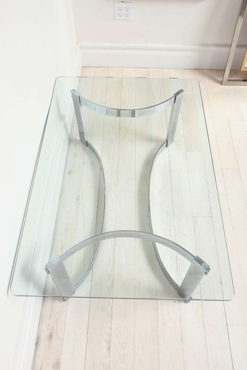 Rectangular Glass Coffee Table: Rectangular Coffee Table With Glass Top And Curved Chrome