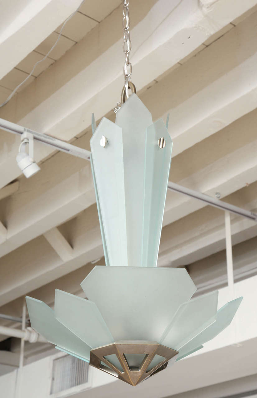 Frosted Glass and Bronze Art Deco Chandelier, France, circa 1930-1940 7