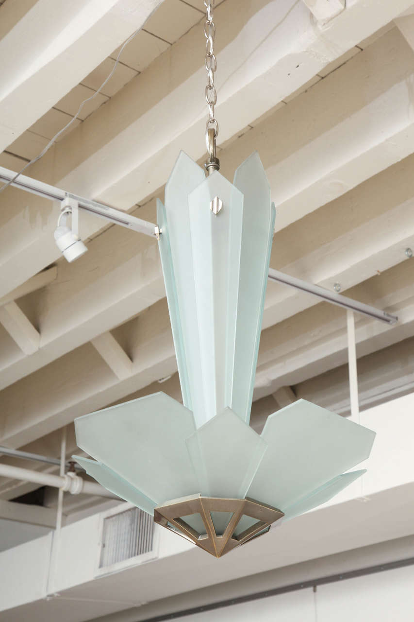 Frosted Glass and Bronze Art Deco Chandelier, France, circa 1930-1940 8