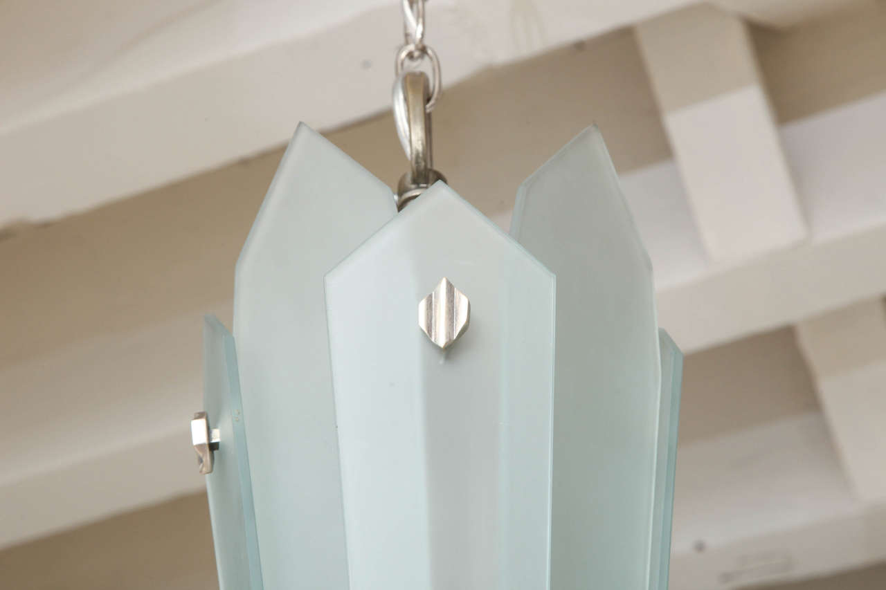 Frosted Glass and Bronze Art Deco Chandelier, France, circa 1930-1940 9