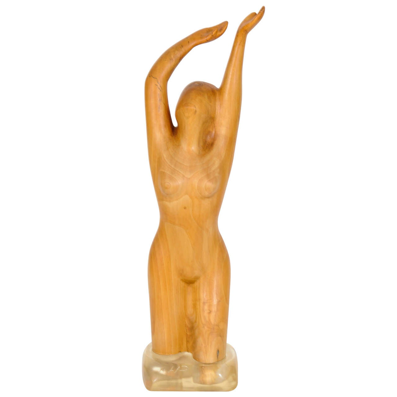 Wooden Statue of a Naked Woman Standing in Water by Dutch Sculptor Aart Prins
