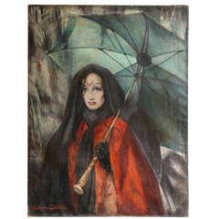 'Rain' Marlene Dietrich Portrait by Lillian Cotton Oil on Canvas