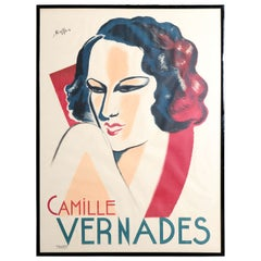 Large Signed Art Deco French Poster of Camille Vernades