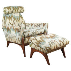 An Adrian Pearsall Chair and Ottoman