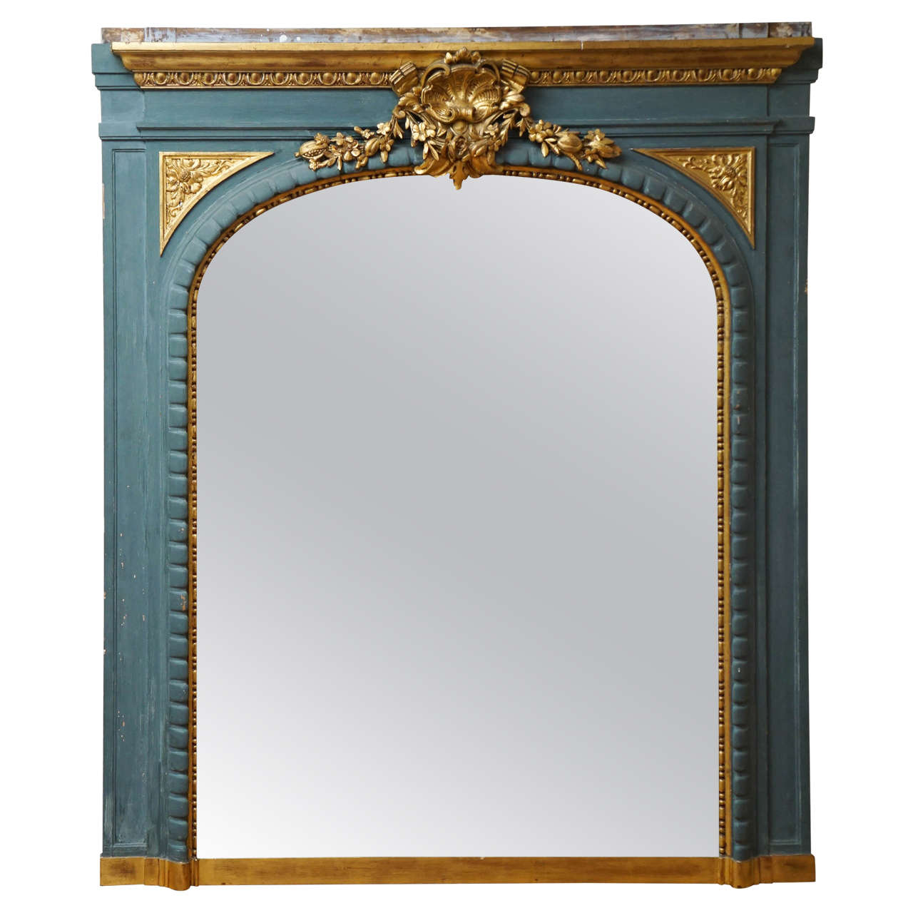 Neoclassical mantel mirror in blue and gold for sale at for Fireplace mirrors