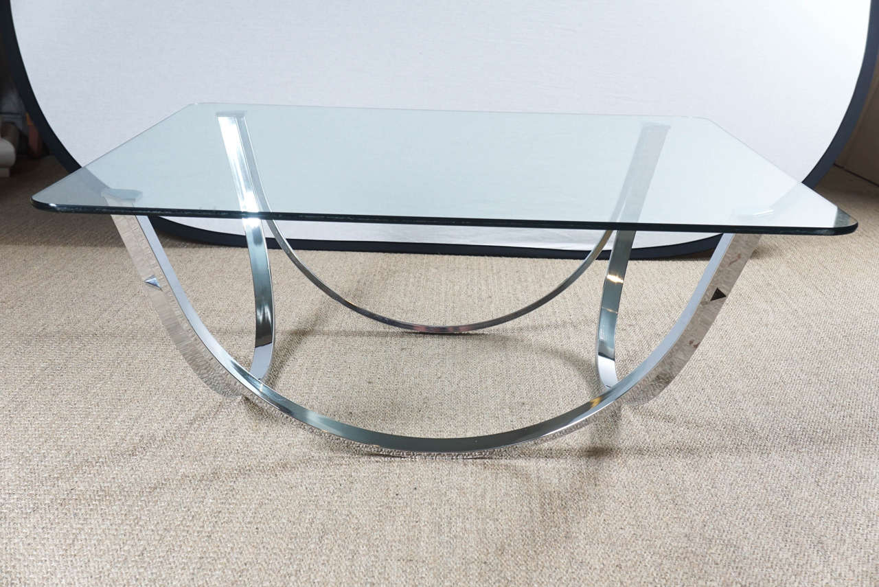 Chrome coffee table base with glass top for sale at 1stdibs Glass coffee table base