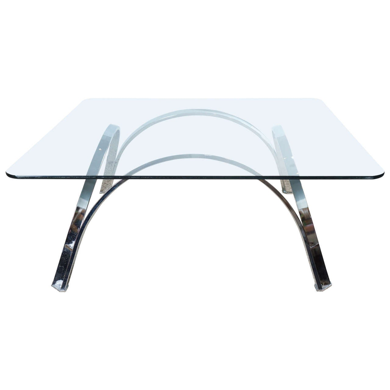 Chrome Coffee Table Base with Glass Top