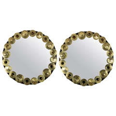 Black Wood and Brass Circular Mirrors