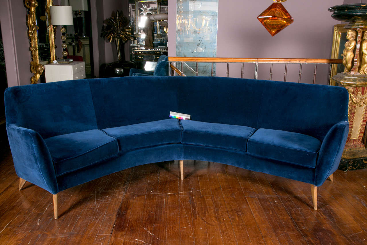 Mid century modern vintage curved sofa for sale