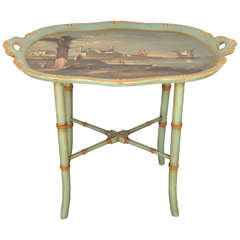 Finely Carved And Painted Wood Italian Low Table
