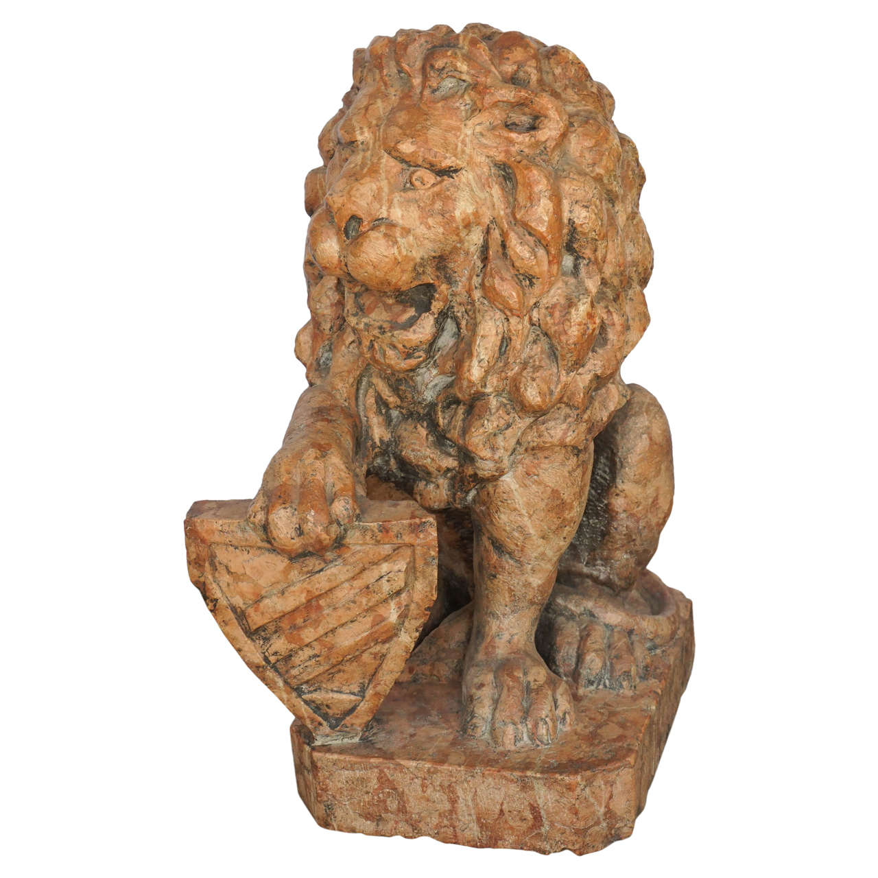 19th Century Carved Breccia Marble Baroque Revival French Lion Sculpture
